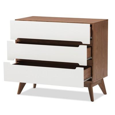 Bon Calypso Mid   Century Modern Wood 3   Drawer Storage Chest   Brown   Baxton  Studio : Target