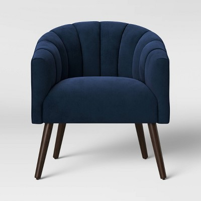 Gwynne Modern Barrel Chair with Channel Seams Velvet Navy - Project 62™