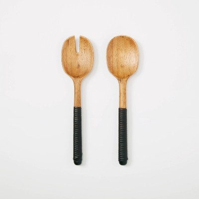 2pc Rubberwood and Rattan Serving Utensils - Threshold™ designed with Studio McGee