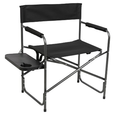 Portal Indoor Outdoor Portable Lightweight Steel Frame Folding Camping Directors Chair with Side Table and Cup Holder, Black