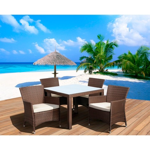 Atlantic Furniture Cape Deluxe 5-Piece Wicker Square Patio Dining Furniture Set - image 1 of 3