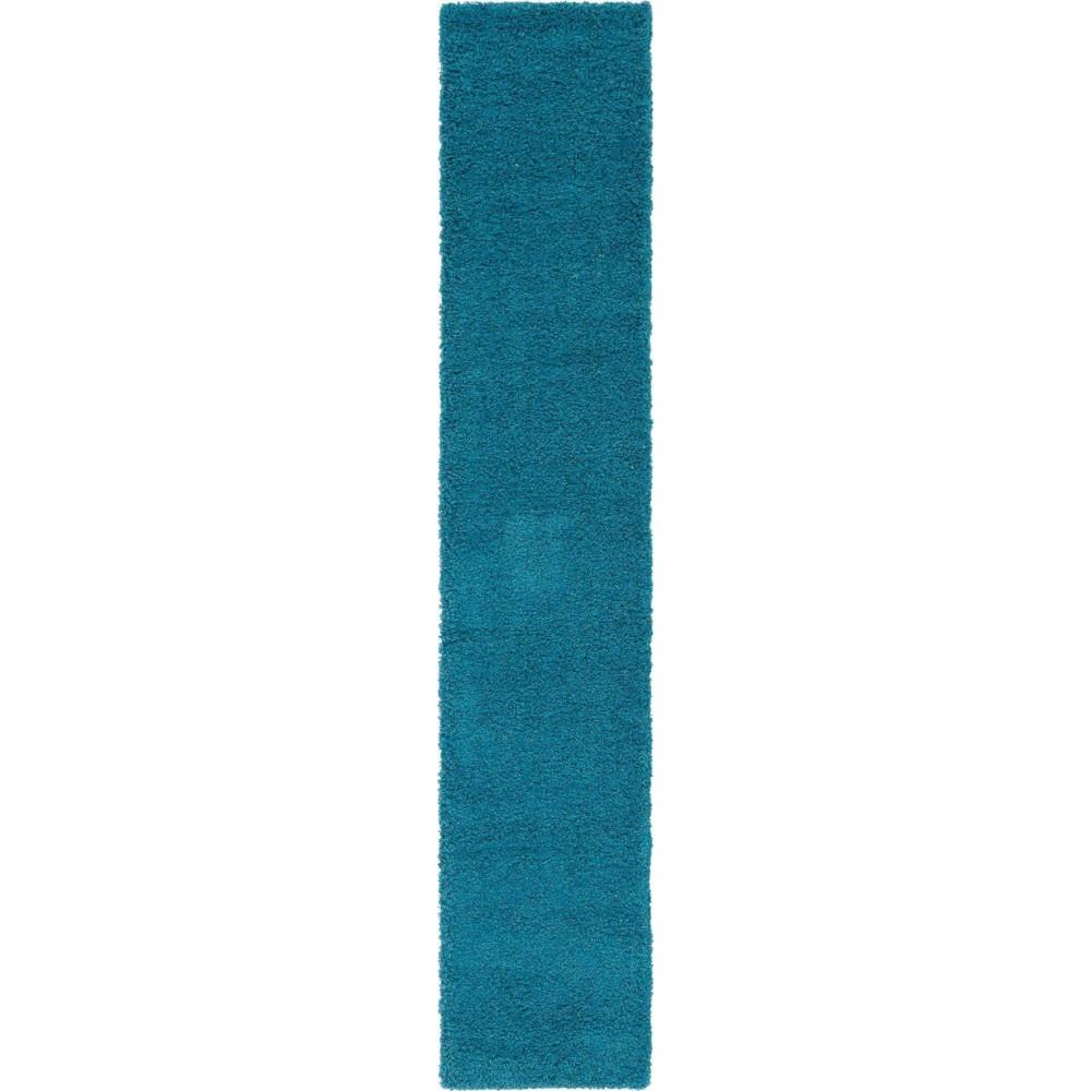 2 39 6 34 X14 39 Runner Solid Shag Rug Aqua Blue Unique Loom