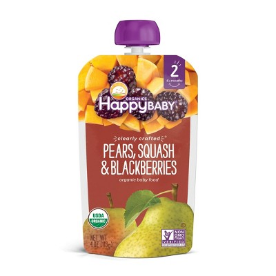 HappyBaby Clearly Crafted Pears Squash & Blackberries Baby Food - 4oz
