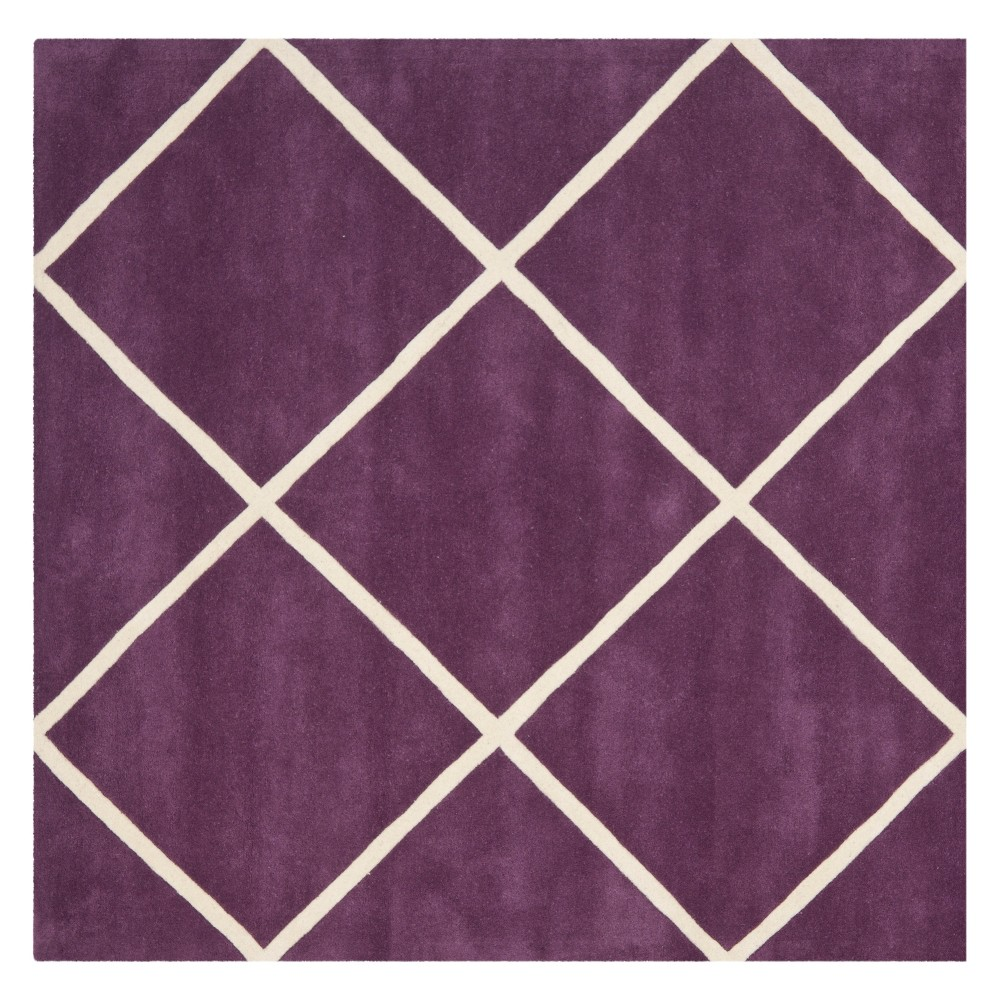 7'X7' Geometric Tufted Square Area Rug Purple/Ivory - Safavieh