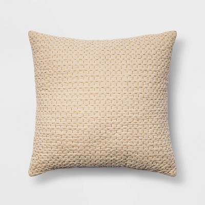 Euro Kantha Stitch Decorative Throw Pillow Yellow - Threshold™