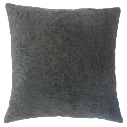 "Gray Velvet Square Throw Pillow (18""x18"") - The Pillow Collection - image 1 of 1"