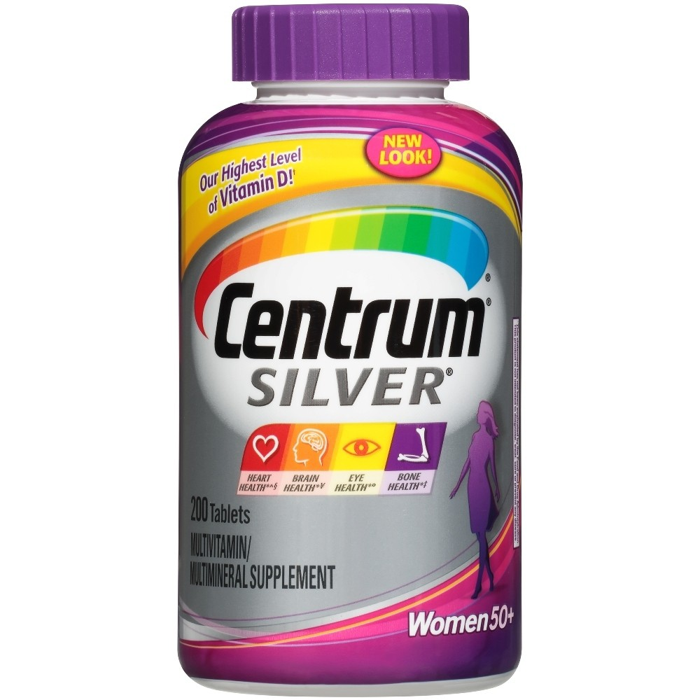 Centrum Silver Women 50+ Multivitamin / Multimineral Dietary Supplement Tablets - 200ct Support a strong bone structure with these Silver Women Multivitamin/Multimineral Dietary Supplement Tablets from Centrum. Formulated for women over 50 years of age, these soft-coated multivitamin supplements are loaded with key nutrients and various vitamins and minerals to maintain strong bones and promote overall good health. These multivitamin and multimineral supplement tablets provide you the required dose of vitamin D and calcium to help maintain bone strength, which naturally starts deteriorating with age and with decreased estrogen levels. Size: 200 Count. Gender: Female. Age Group: Adult.