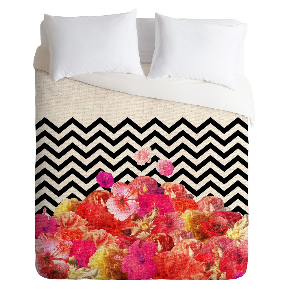 Chevron Flora Lightweight Duvet Cover Twin Pink/Black/Ivory - Deny Designs, White