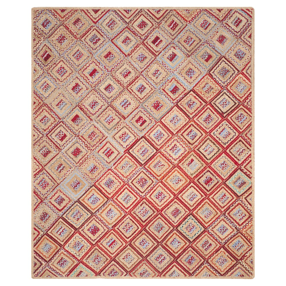 8'x10' Geometric Area Rug Natural/Red - Safavieh