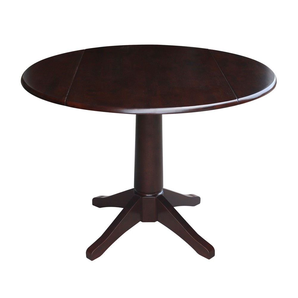 "Image of ""30.3"""" Lorraine Round Dual Drop Leaf Pedestal Table Mocha Brown - International Concepts"""