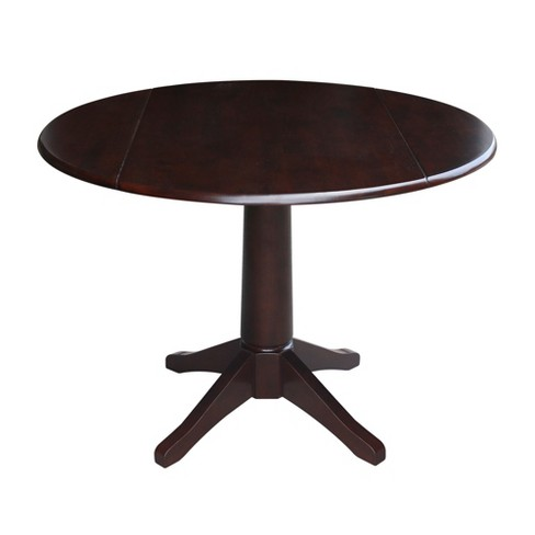 Lorraine Round Dual Drop Leaf Pedestal Table Mocha Brown International Concepts