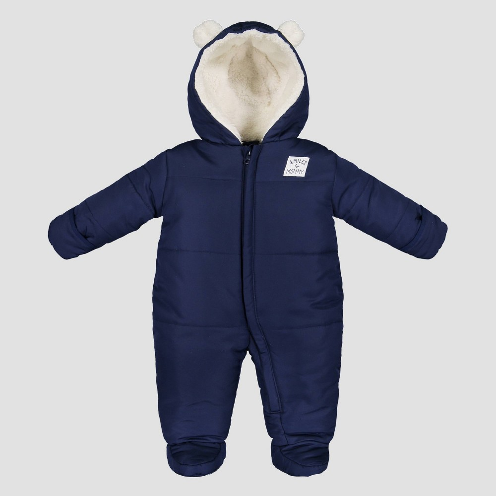 Image of Baby Boys' Bear Snowsuit - Just One You made by carter's Navy 3M, Boy's, Blue