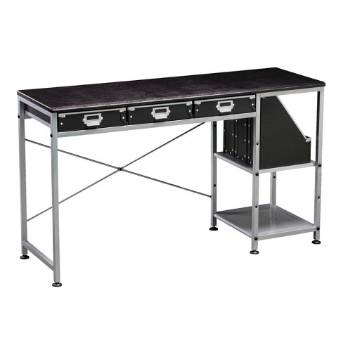 Pottham Table with Drawers Black/Silver - Aiden Lane - image 1 of 4