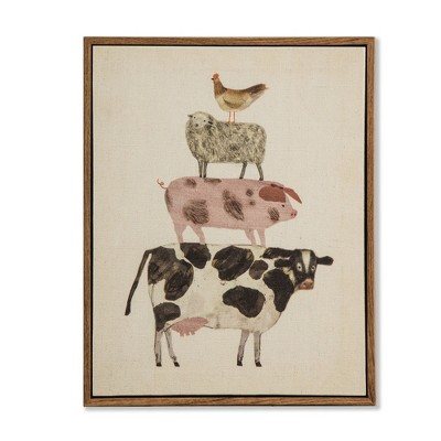 10 x8  Framed Canvas Stacked Animals (Cow)- Threshold™