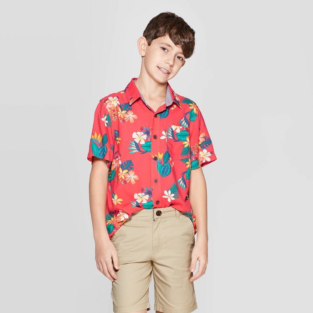 Boys' Short Sleeve Hawaiian Button-Down Shirt - Cat & Jack Red S
