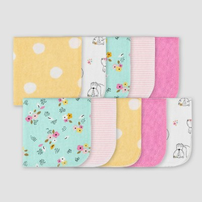 Gerber Baby Girls' 10pk Fox Washcloth Set - Pink