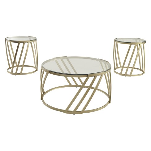 Set Of 3 Austiny Occasional Table Gold Signature Design By Ashley