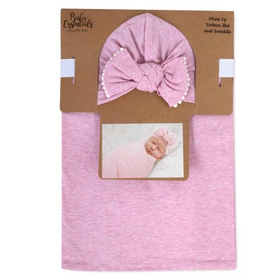 Baby Essentials Swaddle with Turban Cap - Pink Heather