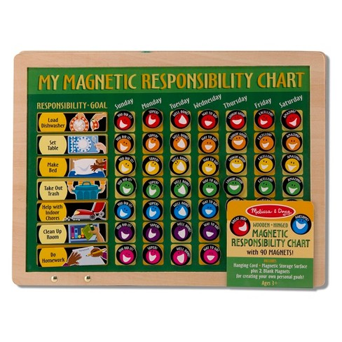 Melissa doug deluxe wooden magnetic responsibility chart with 90