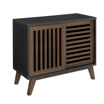 "Mid-Century Modern Sliding Slat Door TV Stand for TVs up to 40"" Black/Dark Walnut - Saracina Home"