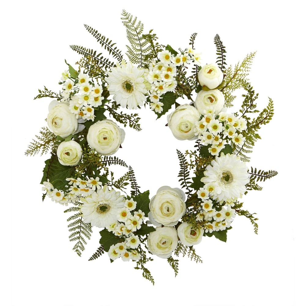 "Image of ""24"""" Artificial Mixed Daisies and Ranunculus Wreath White/Green - Nearly Natural"""