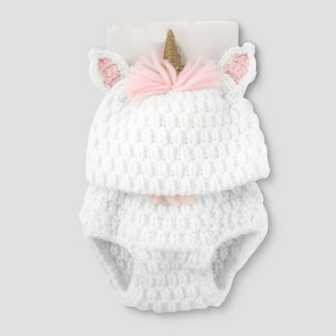 Baby Girls  Unicorn Hat   Diaper Cover Set - Cloud Island™ White   Target 52eb29a9d0f