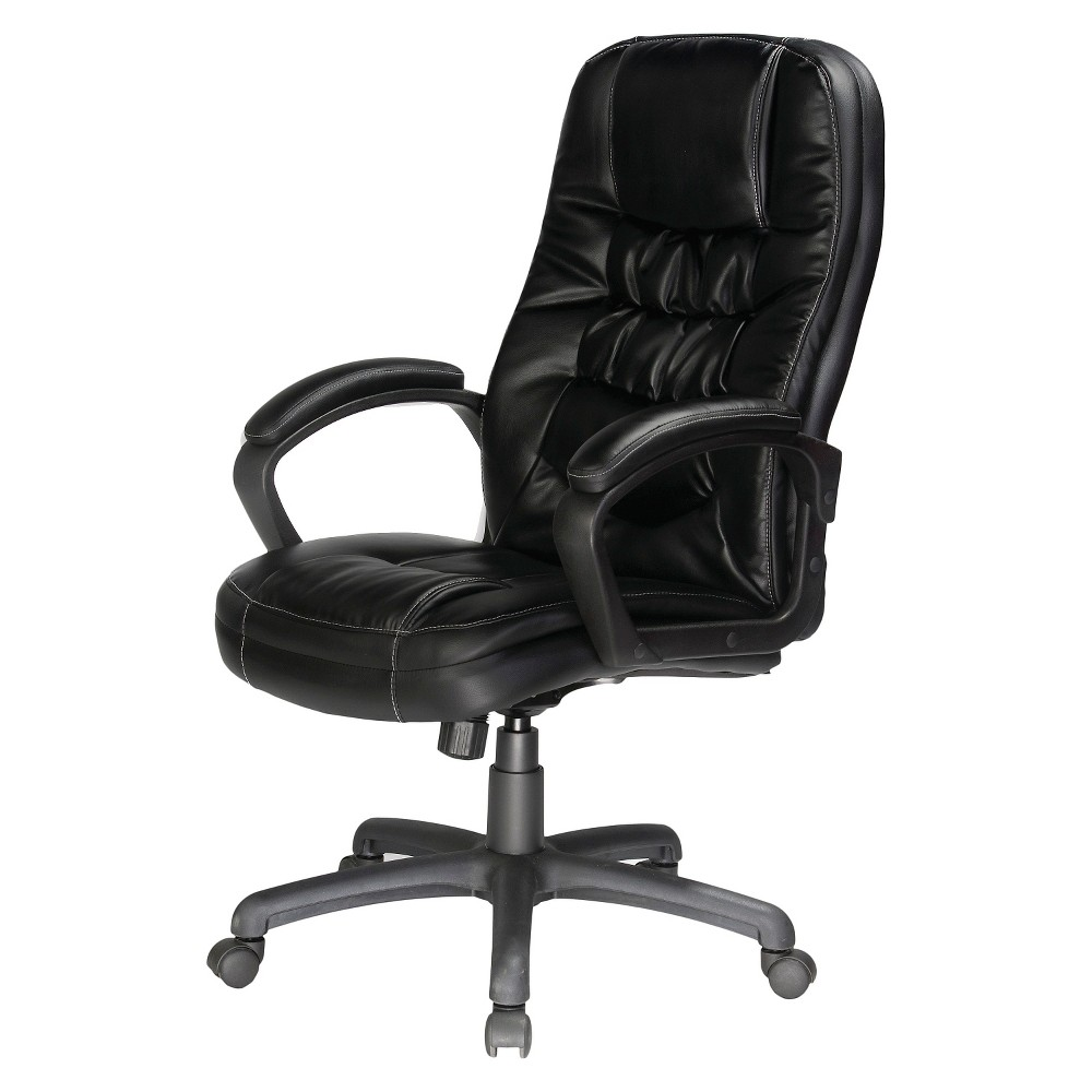 Image of Twin Cushion Bonded Leather Executive Chair Black - Comfort Products