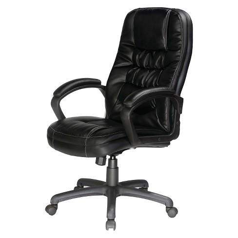Twin Cushion Bonded Leather Executive Chair Black - Comfort Products - image 1 of 4