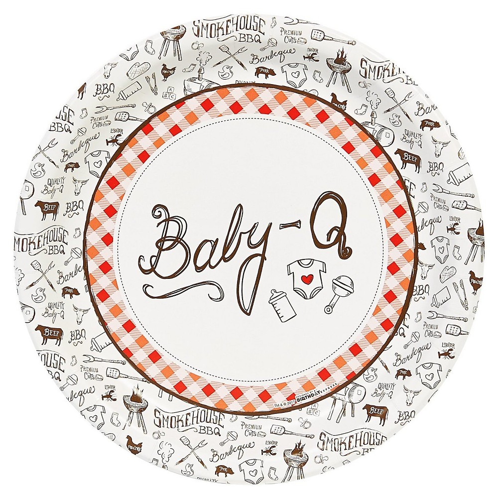 Image of 16ct Baby-Q Dinner Plate, disposable dinnerware