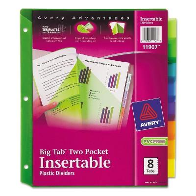 Avery Insertable Big Tab Plastic Dividers w/Double Pockets 8-Tab 11 x 9 11907