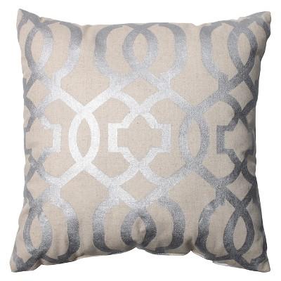 "Pillow Perfect Geometric Throw Pillow - 16.5""x16.5"" - Silver/Linen : Target"