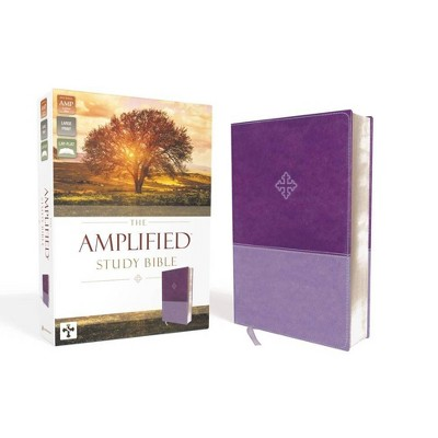 Amplified Study Bible, Imitation Leather, Purple - by  Zondervan (Leather Bound)