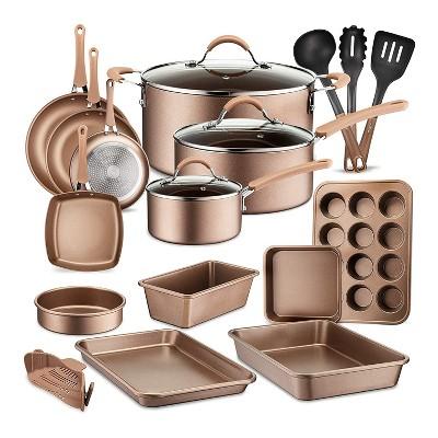 NutriChef Metallic Nonstick Ceramic Cooking Kitchen Cookware Pots and Pan Baking Set with Lids and Utensils, 20 Piece Set, Bronze