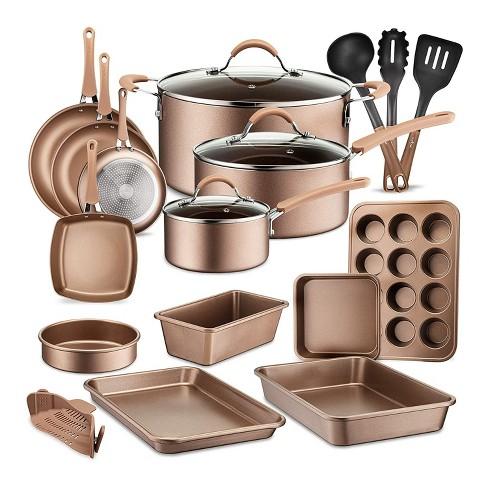 Nutrichef Metallic Nonstick Ceramic Cooking Kitchen Cookware Pots And Pan Baking Set With Lids And Utensils 20 Piece Set Bronze Target
