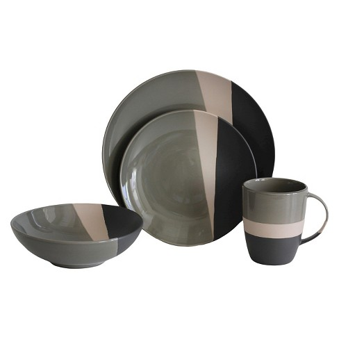 Baum Bros.® Metro 16pc Dinnerware Set Gray - image 1 of 1