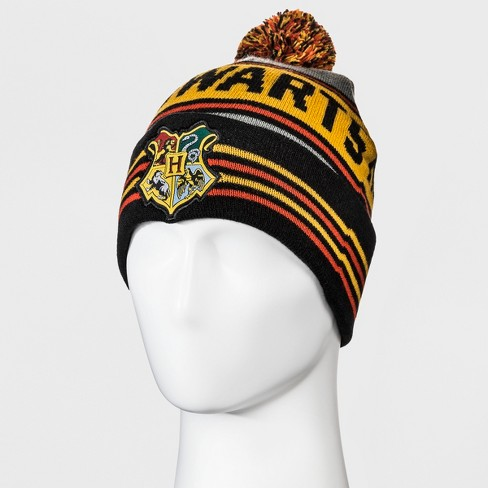Men s Harry Potter Cuffed Knit Pom Beanie - Black One Size   Target 3e8e659ee6c5