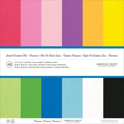 "American Crafts Smooth Cardstock Pack 80lb 12""X12"" 48/Pkg-Primaries"