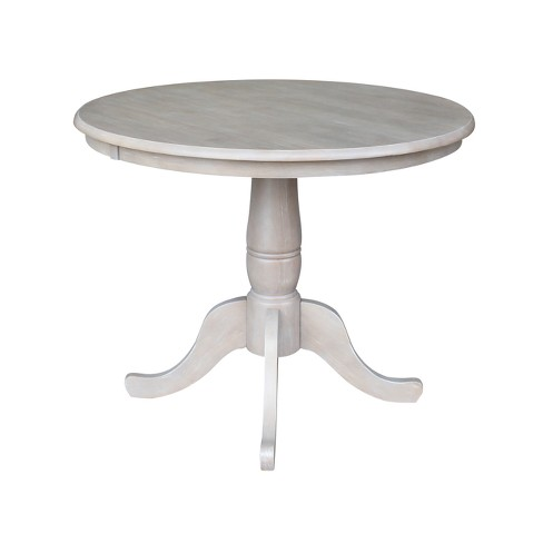 Solid Wood 36 X 36 Round Pedestal Dining Table Weathered Gray