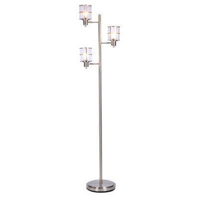 Leon Ribbed Glass Track Floor Lamp Brushed Nickel - Cresswell Lighting