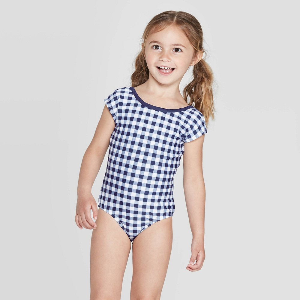 797926c9a98 Toddler Girls Gingham One Piece Swimsuit Navy 2T Blue