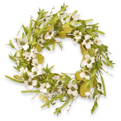 "Artificial Dogwood Wreath White 22"" - National Tree Company"