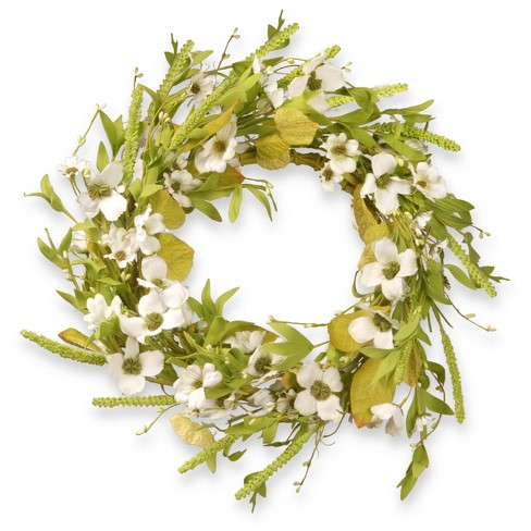 "Artificial Dogwood Wreath White 22"" - National Tree Company® - image 1 of 1"