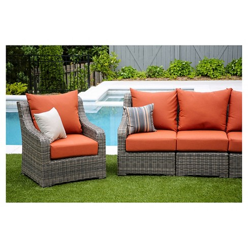 Cherry Hill 5pc All Weather Wicker Patio Deep Seating W Sunbrella Fabric Canvas Brick Ae Outdoor