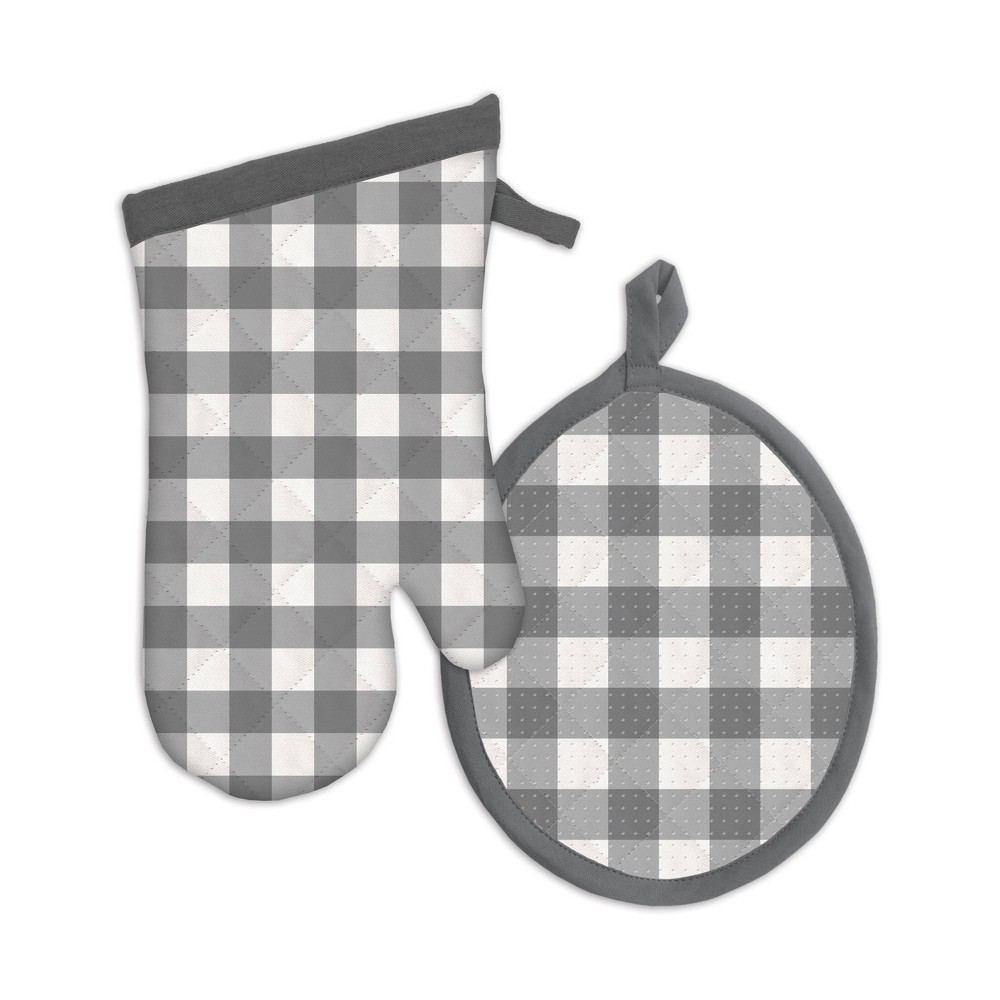 Image of 2pc Gingham Check Oven Mitten Gray - MU Kitchen