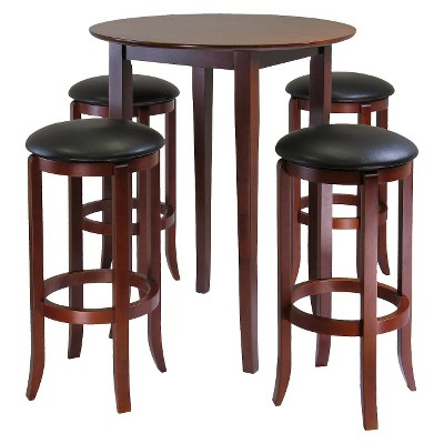 5 Piece Fiona High Table Set with 4 Swivel Stools Wood/Antique Walnut - Winsome