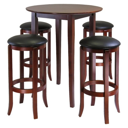 5 Piece Fiona High Table Set With 4 Swivel Stools Wood Antique Walnut Winsome Target
