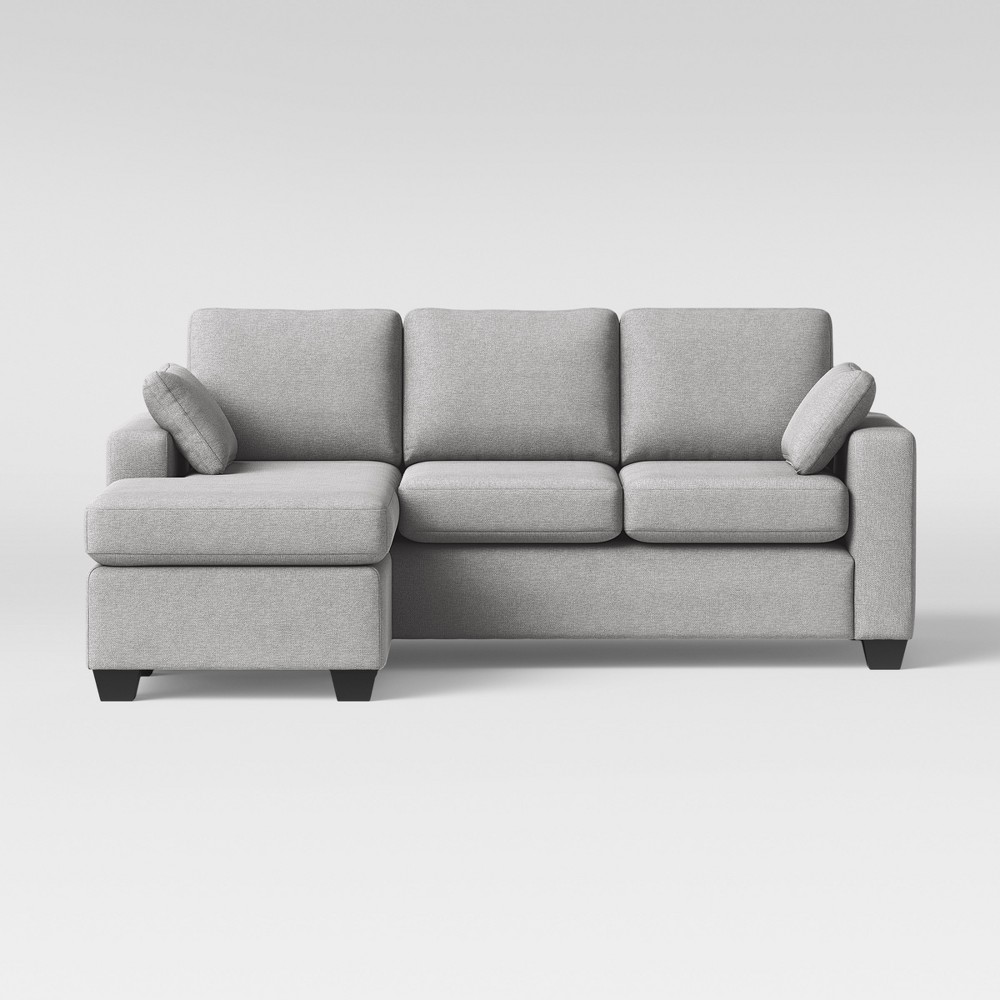 Barnstable Pillow Arm Transitional Reversible Chaise Sofa Gray - Threshold