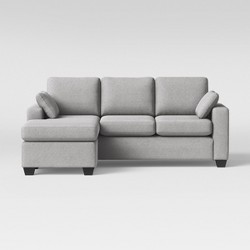 Barnstable Pillow Arm Transitional Reversible Chaise Sofa Gray - Threshold™