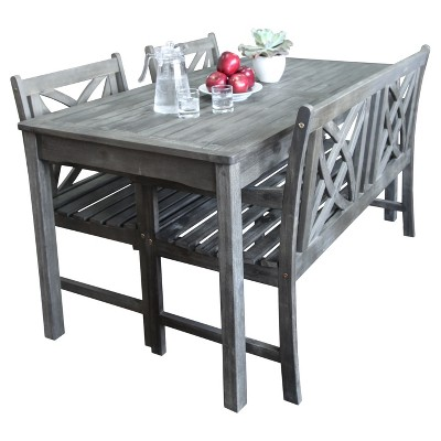 Vifah Renaissance Eco-friendly 4-Piece Outdoor Hand-scraped Dining Set with Rectangle Table, 4' Bench and Arm Chairs - Gray