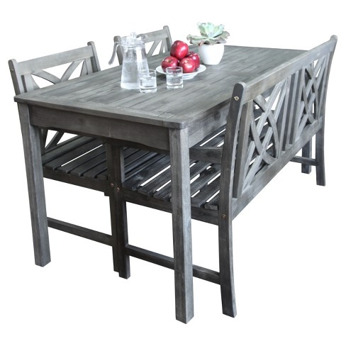 Vifah Renaissance Eco-friendly 4-Piece Outdoor Hand-scraped Dining Set with Rectangle Table, 4' Bench and Arm Chairs - Gray - image 1 of 3